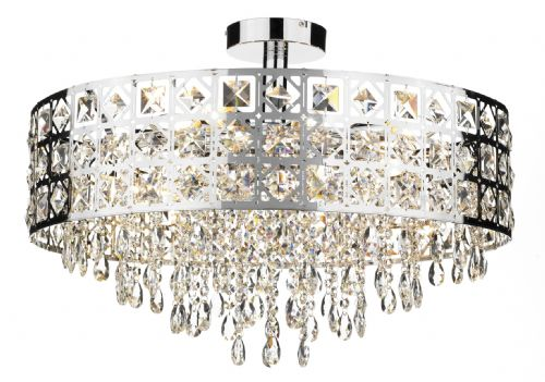 Duchess 6-light Polished Chrome Round Pendant Ceiling Light (827428)